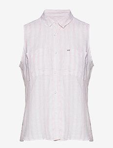 AUBREY SHIRT - sleeveless blouses - pink stripe