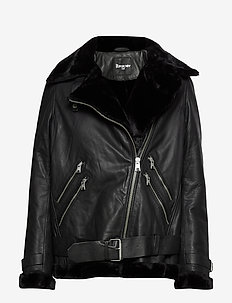 EDIT SUPERDRY LEATHER AVIATOR - BLACK