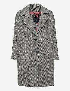 Koben Coat - manteaux en laine - herringbone monochrome