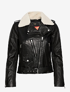 Aviator Leather Biker - vestes en cuir - black