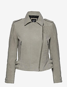 CLASSIC SUEDE BIKER - light jackets - stone
