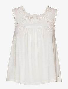 Woven Trim Vest - blouses sans manches - chalk white