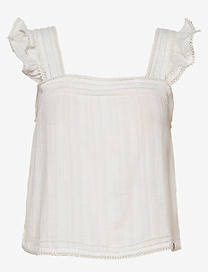 Layne Textured Lace Top - blouses zonder mouwen - white