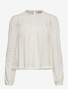 Detroit Lace Ls Top - langærmede bluser - cream