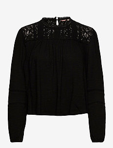 Detroit Lace Ls Top - blouses med lange mouwen - true black