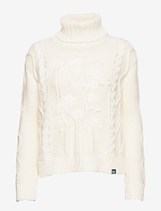 ELSIE CRAFTED CABLE ROLL NECK - turtlenecks - cream