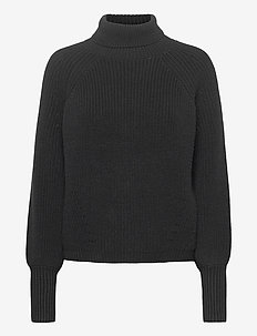 Amy Ribbed Roll Neck - poolopaidat - black
