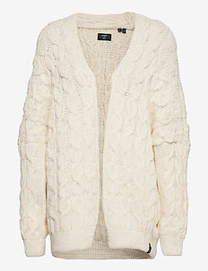 Grace Oversized Cable Cardigan - cardigans - cream