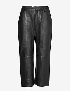 EDIT LEATHER WIDE LEG - BLACK