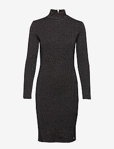 HIGH NECK BODYCON DRESS - BLACK