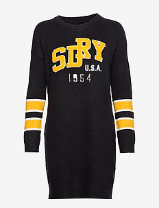 SUPERDRY APPLIQUÉ LOGO KNIT DRESS - stickade klänningar - eclipse navy