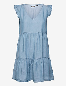 TINSLEY TIERED DRESS - party dresses - mid wash blue