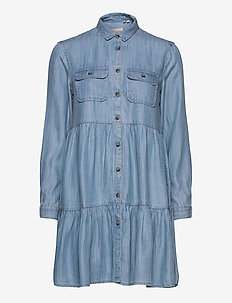 Tiered Shirt Dress - skjortklänningar - light indigo used