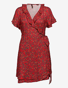Summer Wrap Dress - everyday dresses - autumn ditsy red