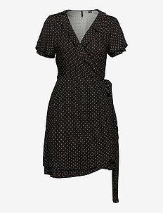 Summer Wrap Dress - everyday dresses - black 70s geo