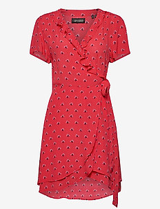 Summer Wrap Dress - omslagskjoler - red ditsy