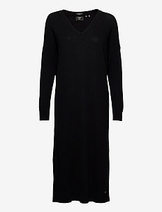 Wool Cashmere Vee Dress - strikkjoler - black