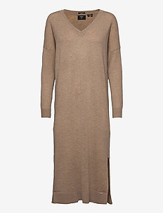 Wool Cashmere Vee Dress - strikkjoler - soft caramel marl