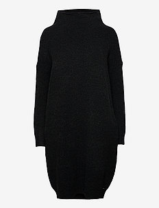 Isabella Funnel Neck Dress - strikkjoler - dark charcoal marl