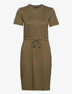 DRAWSTRING TSHIRT DRESS - summer dresses - moss khaki