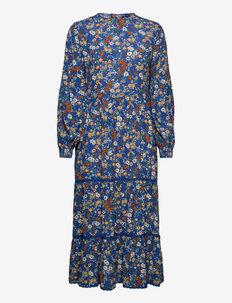 Woven L/S Ditsy Midi Dress - vardagsklänningar - blue ditsy