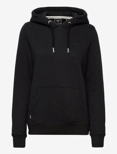 VINTAGE LOGO EMB HOOD - hoodies - black