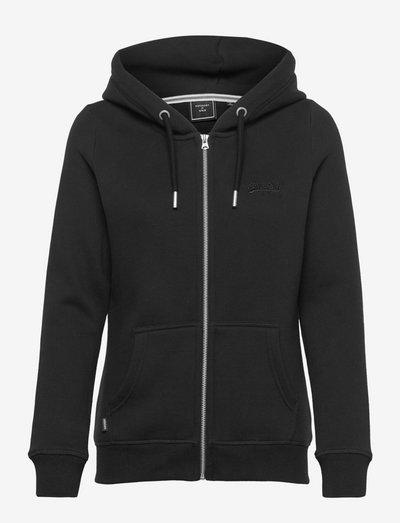 VINTAGE LOGO EMB ZIPHOOD - hoodies - black