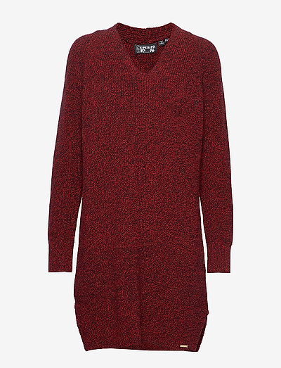 MARISSA VEE KNIT DRESS - gebreide jurken - rust twist