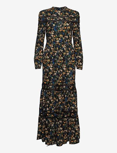 WOVEN LACE MAXI DRESS - evening dresses - black ditsy