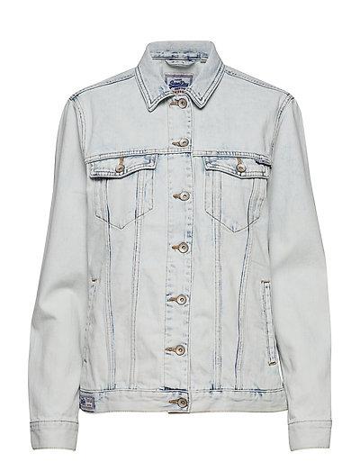 Denim Long Line Jacket Jeansjacke Denimjacke Grau SUPERDRY
