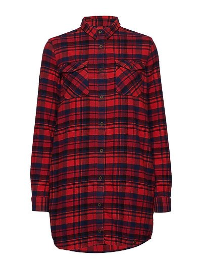 Willow Check Shirt Dress Langärmliges Hemd Rot SUPERDRY