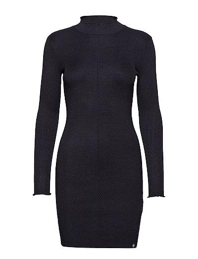Liana Ribbed Knit Dress Strickkleid Schwarz SUPERDRY