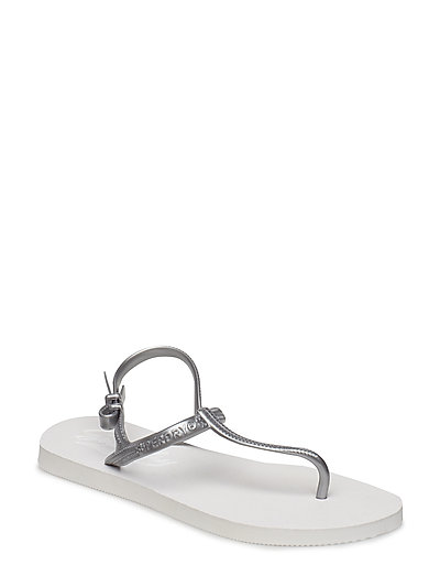 SUPER SLEEK T BAR FLIP FLOP - WHITE/SILVER