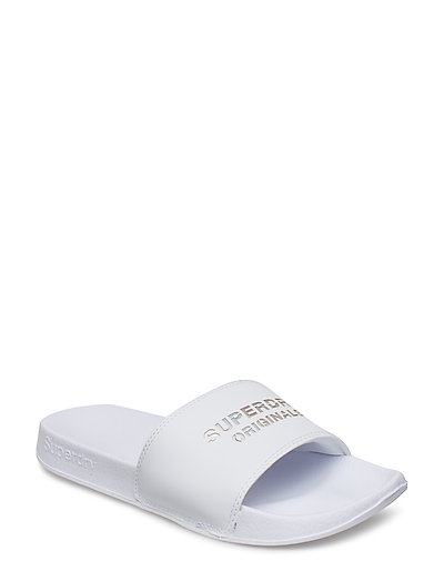 SUPERDRY ORIGINALS POOL SLIDE - OPTIC WHITE/IRIDESCENT