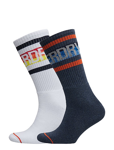 STRIPED CALI SOCK DOUBLE PACK - OPTIC/INDIGO