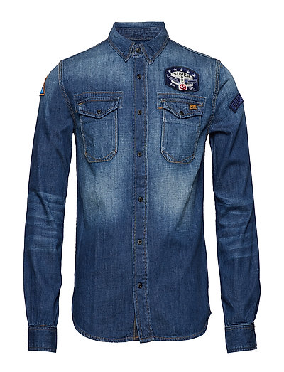 DRAGWAY PATCH DENIM L/S SHIRT - FREEWAY BLUE