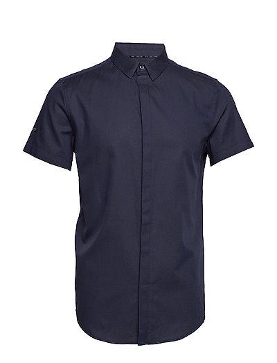 Premium Cotton Dress S/S Shirt Kurzärmliges Hemd Blau SUPERDRY