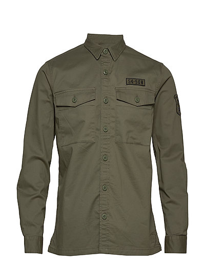 Core Military Patched L/S Shirt Hemd Casual Grün SUPERDRY