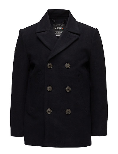 Rookie Merchant Line Peacoat Wollmantel Mantel Blau SUPERDRY