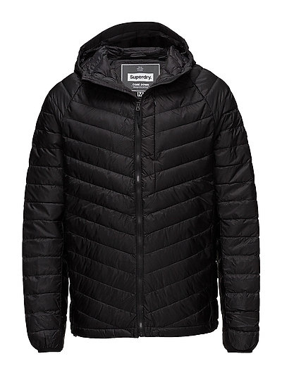 MICRO QUILT DOWN HOODED JACKET - BLACK