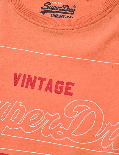 Superdry Pg Label Outline Entry Tee- T-shirts & Tops Desert Pink