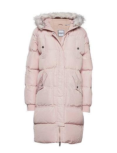 Luxe Longline Puffer Gefütterter Mantel Pink SUPERDRY