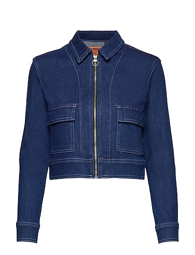 Denim Cropped Jacket Jeansjacke Denimjacke Blau SUPERDRY