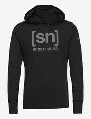 super.natural - M ALPINE HOODED - fleece - jet black melange/vapor grey logo - 0