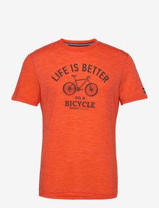 M BETTER BIKE TEE - t-shirts - tangerine tango melange/wren