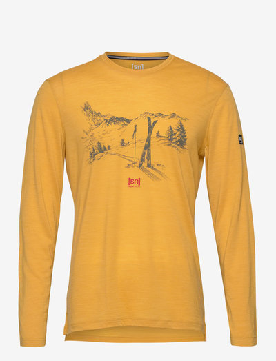 M EARN YOUR TURN LS - pitkähihaiset topit - mustard melange/olive night/high risk red