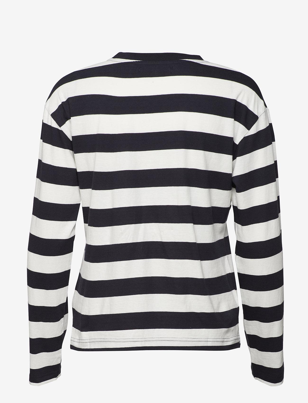 Svea - Lynn Top - long-sleeved tops - navy/offwhite