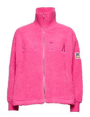 Kathryn Pile Zip Sweater - NEON PINK