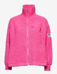Kathryn Pile Zip Sweater - NEON PINK