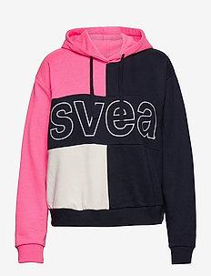 Svea Colorblock Hood - bluzy z kapturem - neon pink